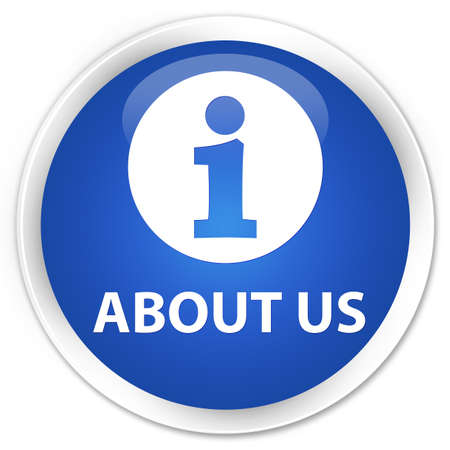 about us: About us blue glossy round button Stock Photo