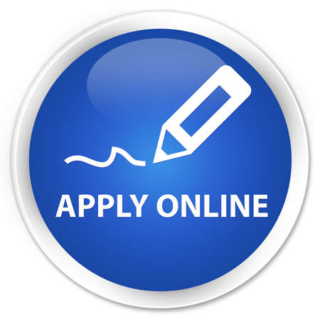 registry: Apply online (edit pen icon) blue glossy round button Stock Photo