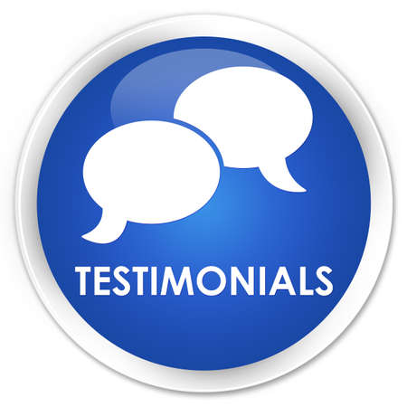 tribute: Testimonials (chat icon) blue glossy round button