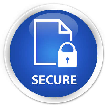 safeguard: Secure (document page padlock icon) blue glossy round button