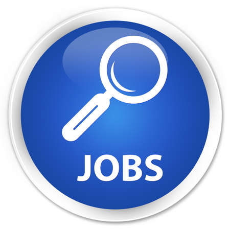 opportunity discovery: Jobs blue glossy round button Stock Photo