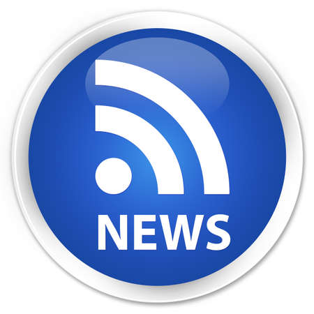 rss icon: News (RSS icon) blue glossy round button Stock Photo