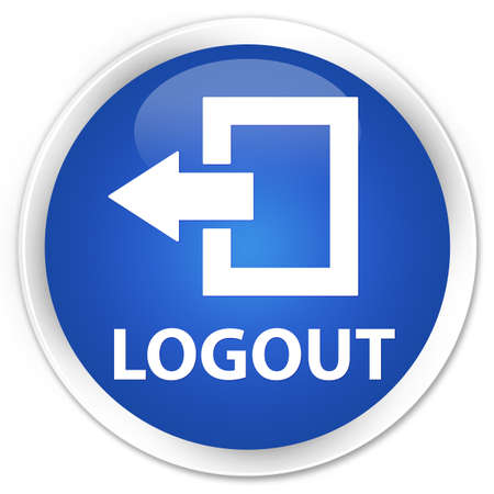 logout: Logout blue glossy round button