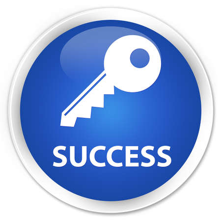 success key: Success (key icon) blue glossy round button