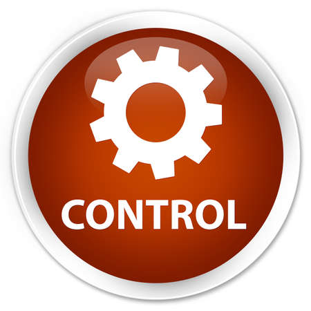 preference: Control (settings icon) brown glossy round button Stock Photo