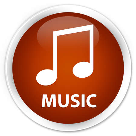 tune: Music (tune icon) brown glossy round button Stock Photo