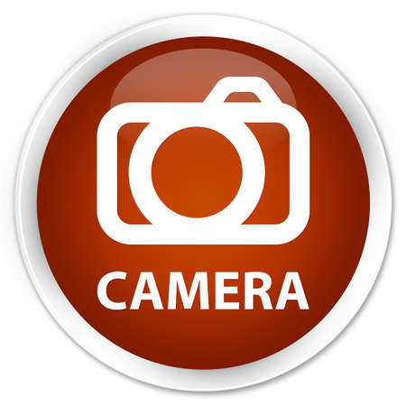 round: Camera brown glossy round button Stock Photo