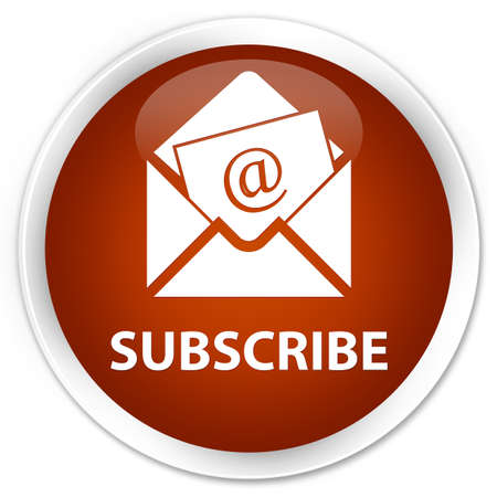 sign up: Subscribe (newsletter email icon) brown glossy round button