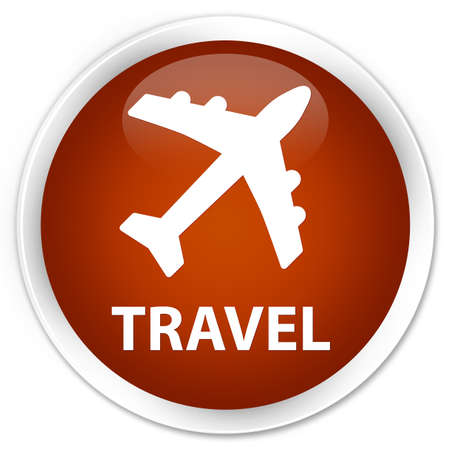 airway: Travel (plane icon) brown glossy round button Stock Photo