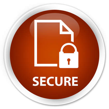 key hole shape: Secure (document page padlock icon) brown glossy round button