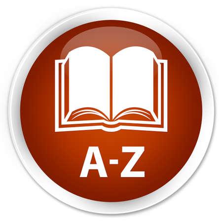 az: A-Z (book icon) brown glossy round button Stock Photo