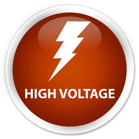 high voltage: High voltage (electricity icon) brown glossy round button