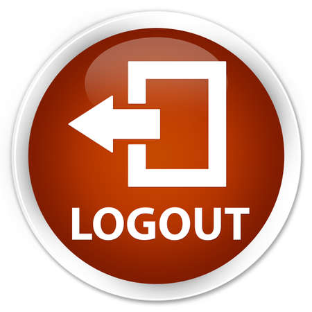 logout: Logout brown glossy round button Stock Photo
