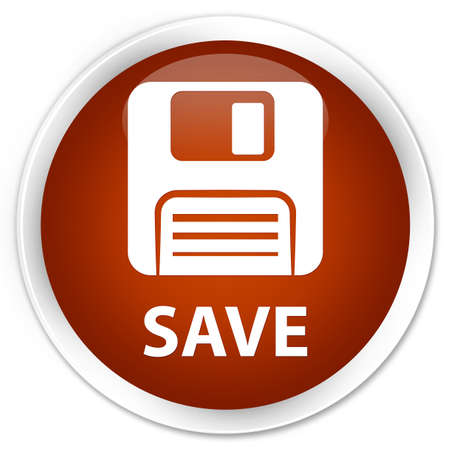 Floppy disk: Save (floppy disk icon) brown glossy round button
