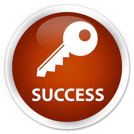 success key: Success (key icon) brown glossy round button