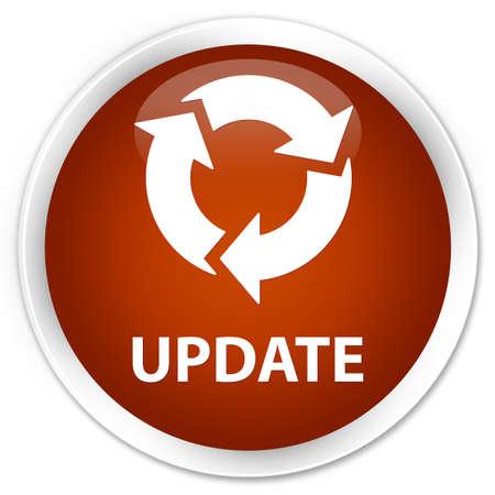 refresh icon: Update (refresh icon) brown glossy round button Stock Photo