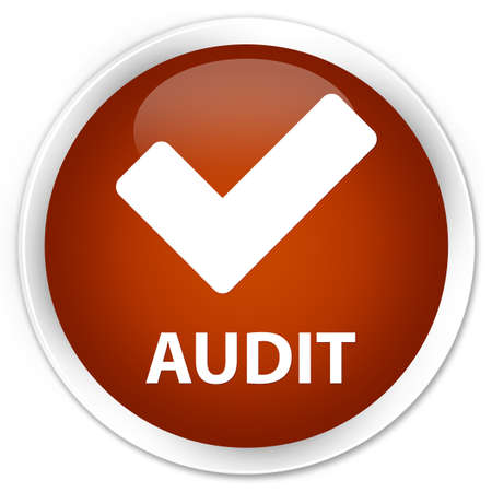 validate: Audit (validate icon) brown glossy round button