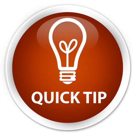 quick: Quick tip (bulb icon) brown glossy round button Stock Photo