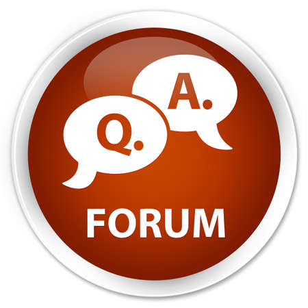 question and answer: Forum (question answer bubble icon) brown glossy round button