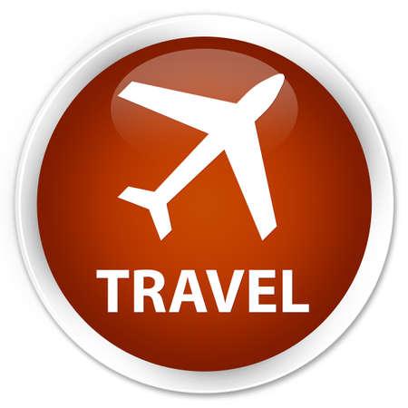 airway: Travel (plane icon) brown glossy round button Stock Photo