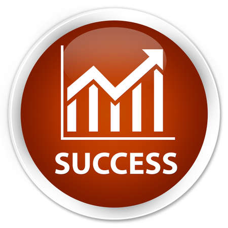 stat: Success (statistics icon) brown glossy round button Stock Photo