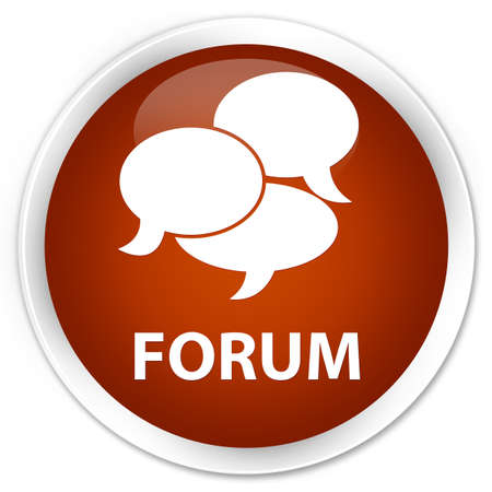 comments: Forum (comments icon) brown glossy round button