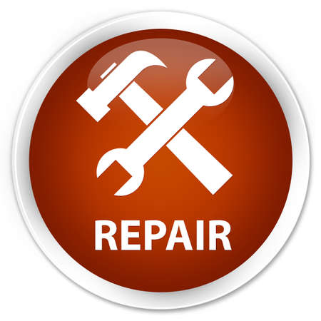 preference: Repair (tools icon) brown glossy round button Stock Photo