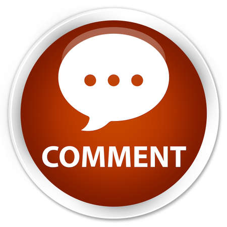 comment: Comment (conversation icon) brown glossy round button