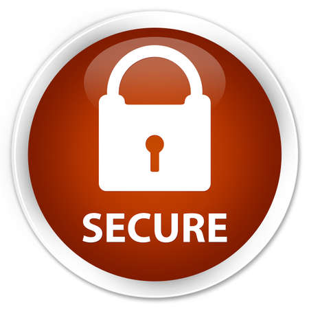 insecure: Secure (padlock icon) brown glossy round button