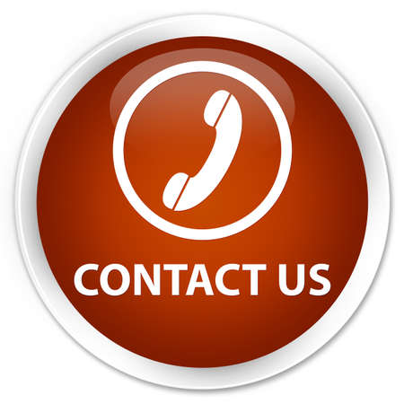 contact us phone: Contact us (phone icon round border) brown glossy round button Stock Photo