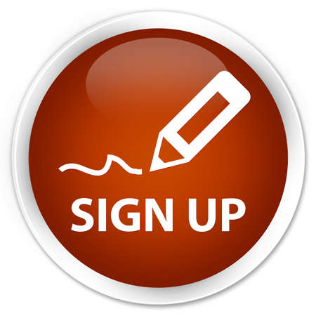 sign up: Sign up brown glossy round button