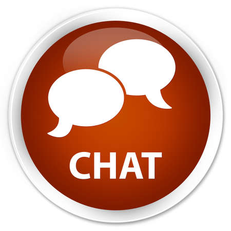 instant message: Chat brown glossy round button