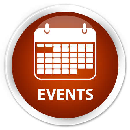 current events: Events (calendar icon) brown glossy round button
