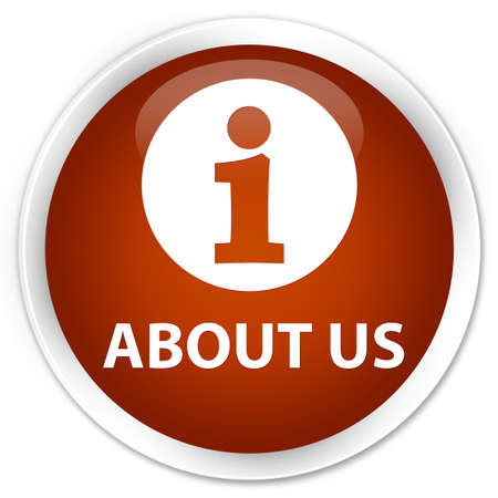 about us: About us brown glossy round button Stock Photo