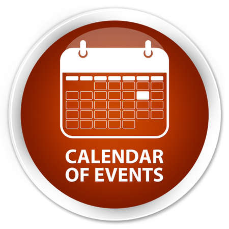 event planner: Calendar of events brown glossy round button