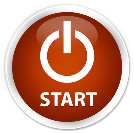 turn up: Start (power icon) brown glossy round button Stock Photo