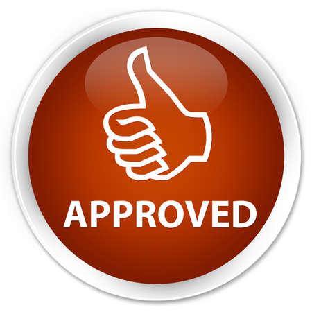thumbs up icon: Approved (thumbs up icon) brown glossy round button
