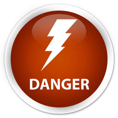 high voltage symbol: Danger (electricity icon) brown glossy round button Stock Photo