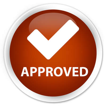 validate: Approved (validate icon) brown glossy round button Stock Photo