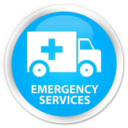 emergency services: Emergency services cyan blue glossy round button