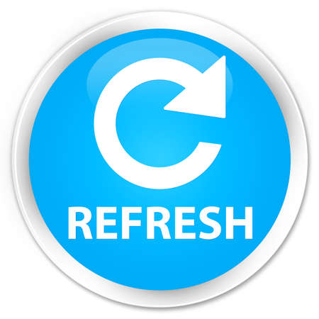 rotate: Refresh (rotate arrow icon) cyan blue glossy round button Stock Photo