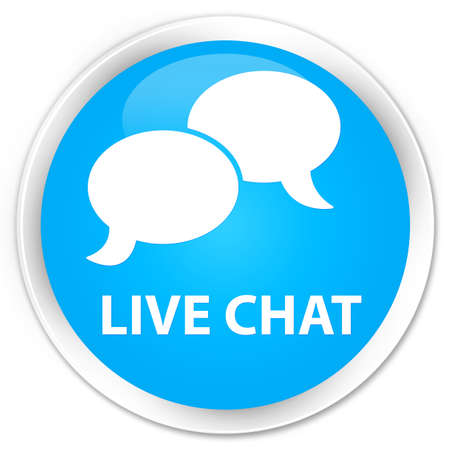 instant message: Live chat cyan blue glossy round button