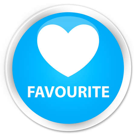 favourite: Favourite (heart icon) cyan blue glossy round button
