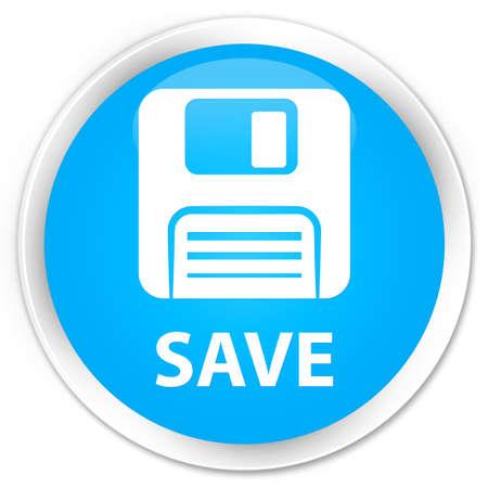 floppy disk: Save (floppy disk icon) cyan blue glossy round button