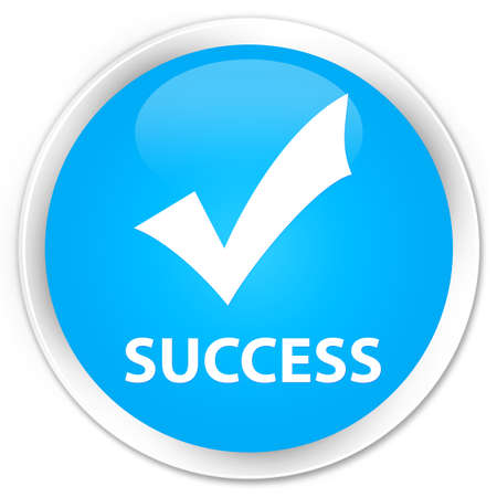 Success (validate icon) cyan blue glossy round button