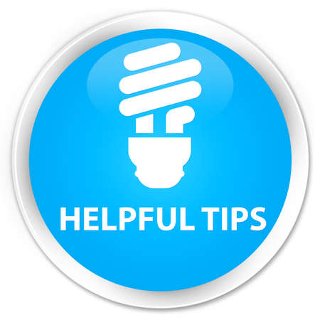 helpful: Helpful tips (bulb icon) cyan blue glossy round button Stock Photo