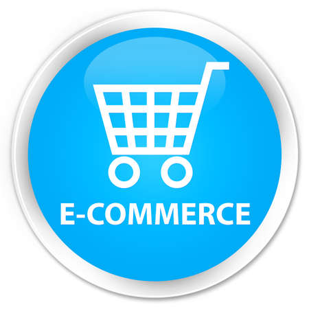 cyan business: E-commerce cyan blue glossy round button