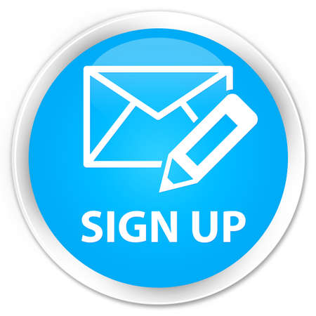 registry: Sign up (edit mail icon) cyan blue glossy round button