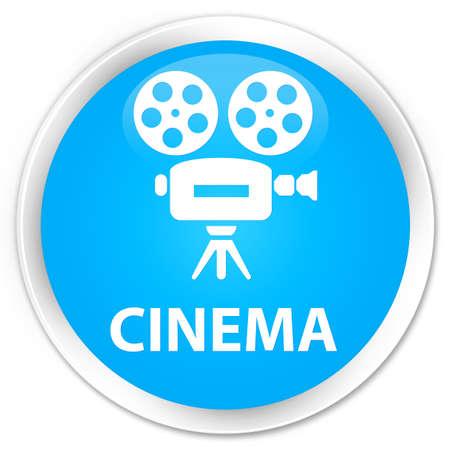 capturing: Cinema (video camera icon) cyan blue glossy round button