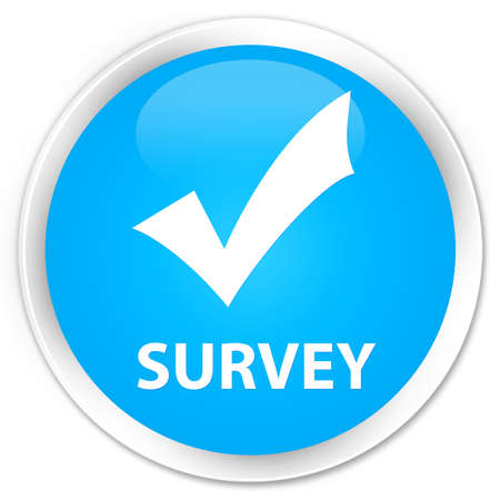 Survey (validate icon) cyan blue glossy round button Stock Photo